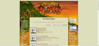 Partituras para piano y otros instrumentos del juego Monkey Island