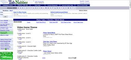Molti spartiti, sito ben fornito, prevalentemente giochi per NES