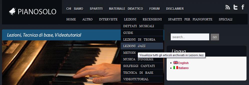 lezioni di jazz menu