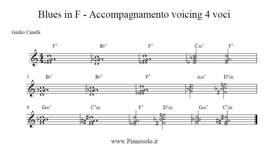 Blues in F voicing a 4 voices