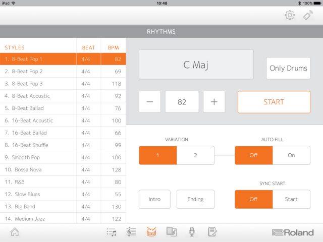 Il menu Rhythms nella app Piano Partner 2